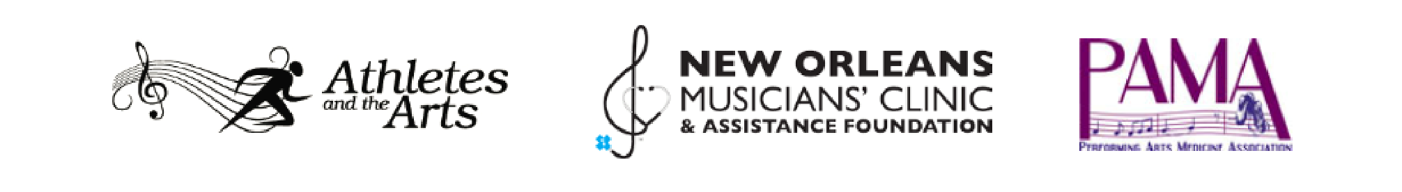 Logos for Athletes and the Arts, New Orleans Musicians' Clinic & Assistance Foundation, and Performing Arts Medicine Association