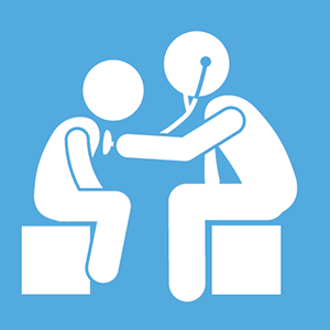 Graphic of doctor examining patient