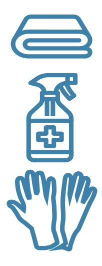 graphic of towel, sanitizing spray, and gloves