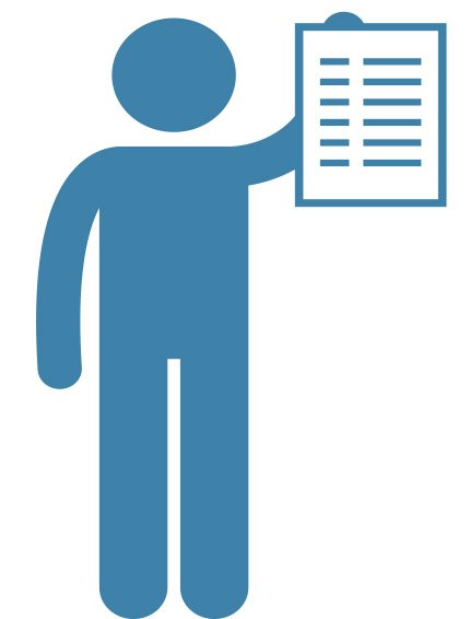 graphic of person holding paper